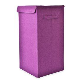 Dark Purple Colour Collapsible Storage/Laundry Basket with Lid (Size 60x30x30 Cm)