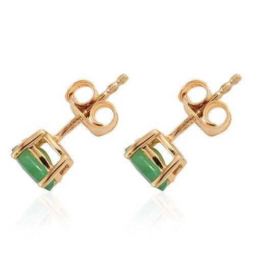 Zambian Emerald 0.90 Ct Silver Stud Earrings in Gold Overlay