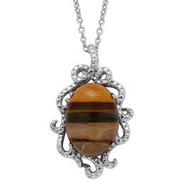 Iron Zebra Jasper (Ovl) Solitaire Pendant in ION Plated Silver Bond with Stainless Steel Chain 8.500 Ct.