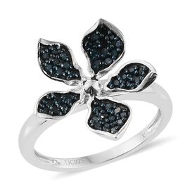 Kimberley Forget Me Not Collection - Blue Diamond (Rnd) Floral Ring in Platinum Overlay Sterling Silver 0.250 Ct.
