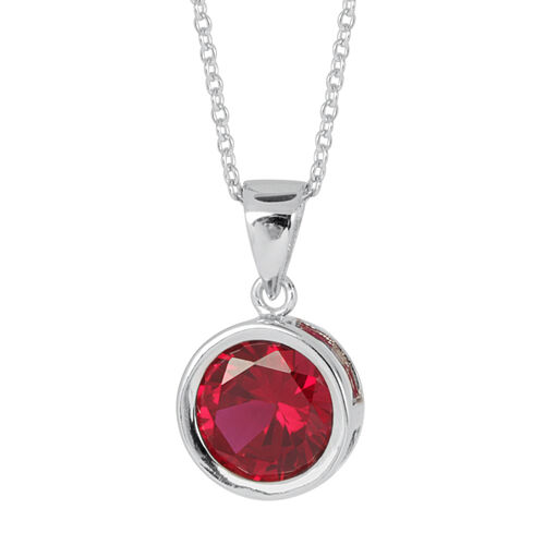 ELANZA AAA Simulated Ruby (Rnd) Solitaire Pendant With Chain in Rhodium Plated Sterling Silver