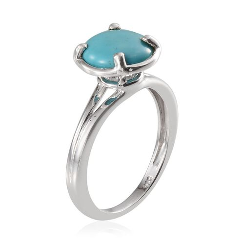 Arizona Sleeping Beauty Turquoise (Rnd) Solitaire Ring in Platinum Overlay Sterling Silver 3.500 Ct.