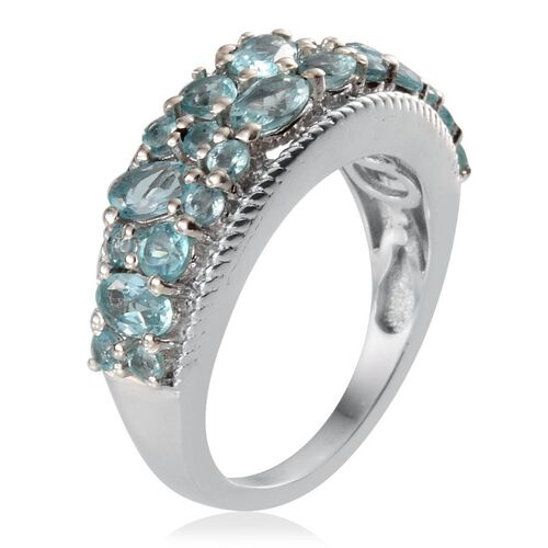 Paraibe Apatite (Ovl) Ring in Platinum Overlay Sterling Silver 2.150 Ct.
