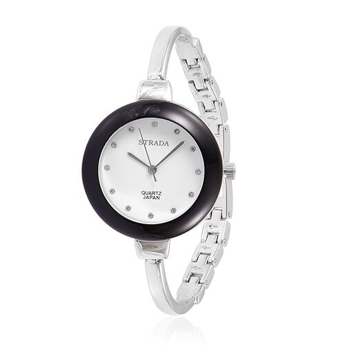 STRADA Japanese Movement White Austrian Crystal Studded Watch in Silver Tone with Multi Colour Interchangeable Bezels
