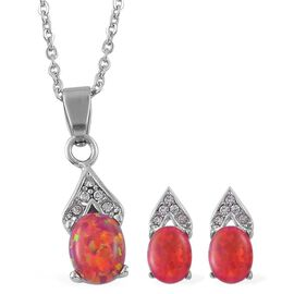 Simulated Red Opal and Simulated White Diamond Pendant With Chain and Earrings (with Push Back) in Stainless Steel