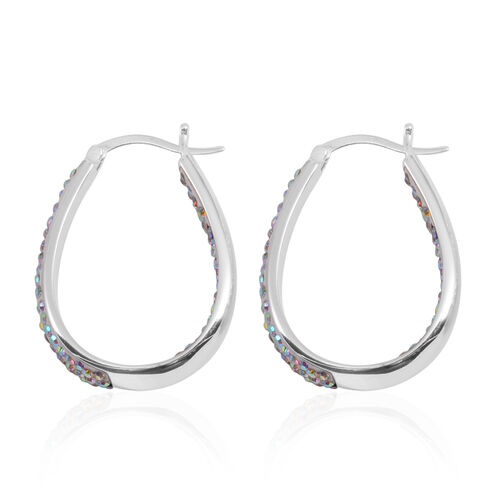 White Colour Austrian Crystal Hoop Earrings (with Clasp) in Silver Bond