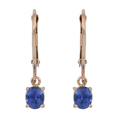 ILIANA 18K Y Gold Rare Ceylon Sapphire (Ovl) Lever Back Earrings 1.000 Ct.