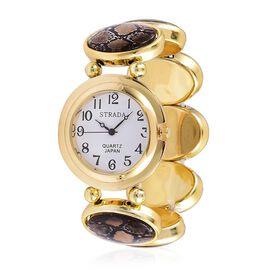 STRADA Japanese Movement Python Skin Pattern Stretchable Bracelet Watch