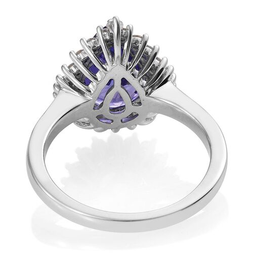 ILIANA 18K White Gold 3.75 Carat AAA Tanzanite Pear, Diamond SI G-H Ring.