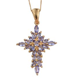Tanzanite (Pear) Cross Pendant With Chain in 14K Gold Overlay Sterling Silver 2.00 Ct.