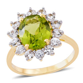 9K Y Gold AAAA Rare Size Hebei Peridot (Ovl 4.75 Ct),Natural Combodian Zircon Ring 6.250 Ct. Gold Wt 3.60 Gms