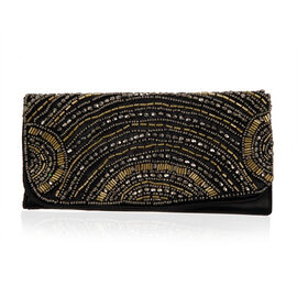 Black and Gold Beaded Clutch Bag (Size 20x10 Cm)
