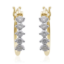 9K Y Gold SGL Certified Diamond (Rnd) (I3/G-H) Hoop Earrings (with Clasp) 0.500 Ct.