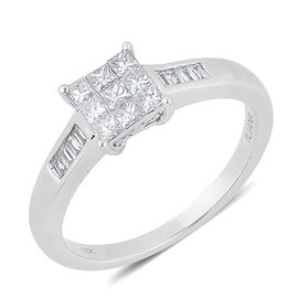 ILIANA 18K White Gold 0.50 Carat Diamond Princess Ring Invisible Set IGI Certified Diamond SI G-H.