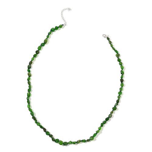 Russian Diopside Necklace (Size 18 with 2 inch Extender) in Rhodium Plated Sterling Silver 50.000 Ct.
