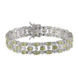 AA Hebei Peridot (Ovl), Diamond Bracelet in Platinum Overlay Sterling Silver (Size 7.5) 11.770 Ct.