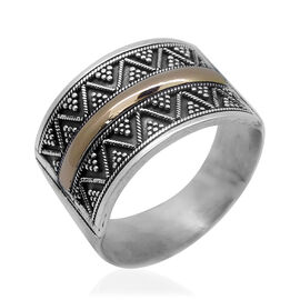 Royal Bali Collection - Hand Made 14K Y Gold and Sterling Silver Accent Band Ring 4.40 Gms.