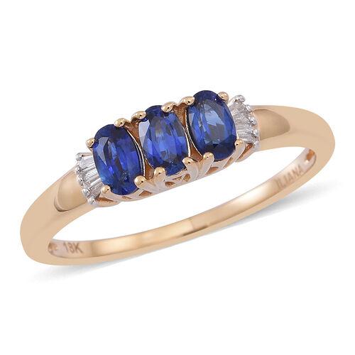 ILIANA 18K Y Gold AAA Ceylon Sapphire (Ovl), Diamond Ring 1.000 Ct.