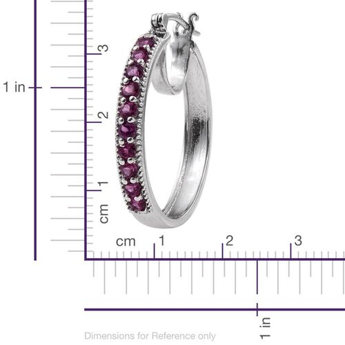 Rare Mozambique Grape Colour Garnet (Rnd) Hoop Earrings (with Clasp) in Platinum Overlay Sterling Silver 2.250 Ct.