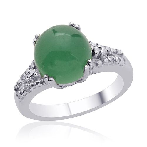 Emerald Quartz (Rnd 4.50 Ct), Diamond Ring in Platinum Overlay Sterling Silver 4.550 Ct.
