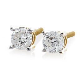 14K Y Gold SGL Certified Diamond (Rnd) (I2/ G-H) Stud Earrings (with Screw Back) 0.500 Ct.