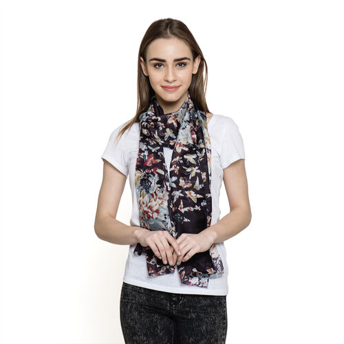 100% Mulberry Silk Black and Multi Colour Abstract Pattern Scarf (Size 180x50 Cm)