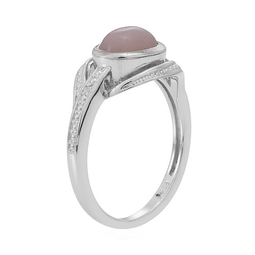 Peruvian Pink Opal (Ovl 1.10 Ct), White Topaz Ring in Rhodium Plated Sterling Silver 1.110 Ct.