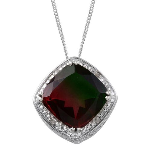 Tourmaline Colour Quartz (Cush 6.75 Ct), Diamond Pendant With Chain in Platinum Overlay Sterling Silver 6.780 Ct.