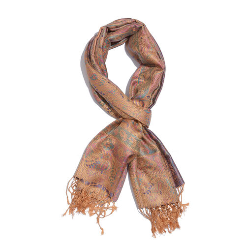 SILK MARK- 100% Superfine Silk Golden and Multi Colour Jacquard Jamawar Scarf with Tassels (Size 180x70 Cm) (Weight 125 - 140 Gms)