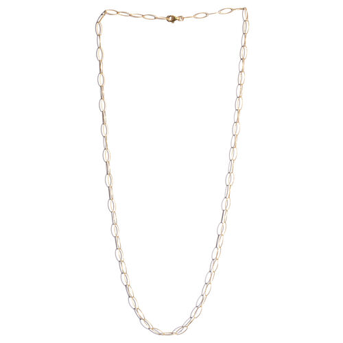 14K Gold Overlay Sterling Silver Diamond Cut Open Oval Rolo Chain (Size 30), Silver wt 5.50 Gms.