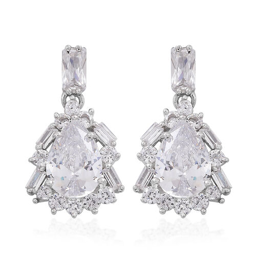 ELANZA AAA Simulated White Diamond (Pear) Earrings (with Push Back) in Rhodium Plated Sterling Silver