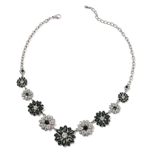 Green and White Austrian Crystal Floral Necklace (Size 20) in Silver Tone