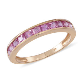 9K Yellow Gold Pink Sapphire (Sqr) Half Eternity Band Ring 1.250 Ct.