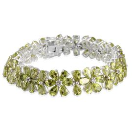 Hebei Peridot (Pear), White Topaz Bracelet (Size 7.5) in Platinum Overlay Sterling Silver 41.250 Ct.