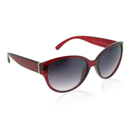 Red Frame Sunglasses with White Crystal