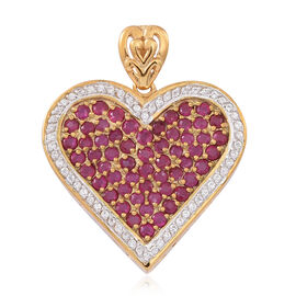 Burmese Ruby (Rnd), Natural Cambodian White Zircon Heart Pendant in 14K Gold Overlay Sterling Silver 4.000 Ct.