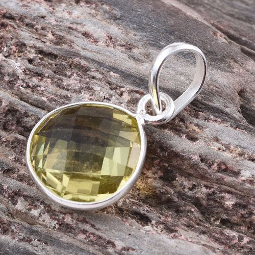 Natural Ouro Verde Quartz (Pear) Solitaire Pendant in Sterling Silver 5.220 Ct.