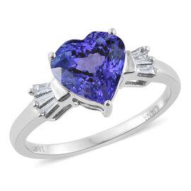ILIANA 18K White Gold 2.50 Carat AAA Tanzanite Heart Ring With Diamond SI G-H