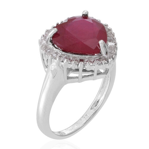 African Ruby (Hrt 6.29 Ct), White Topaz Ring in Rhodium Plated Sterling Silver 7.000 Ct.