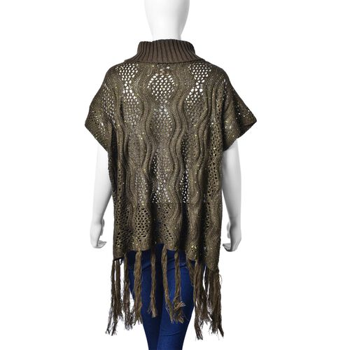 Green Colour Wavy Pattern High Neck Design Knitted Vest with Tassels (Size 70x60 Cm)
