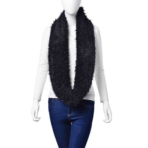 Faux Fur Black Colour Scarf (Size 58x15 Cm)