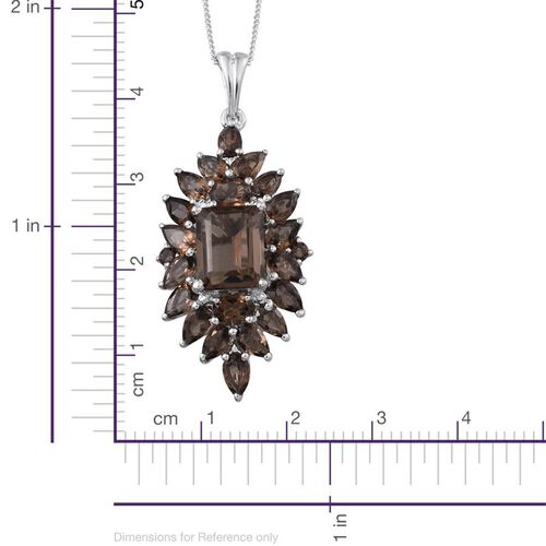 Brazilian Smoky Quartz (Oct 2.65 Ct) Pendant With Chain in Platinum Overlay Sterling Silver 6.750 Ct.