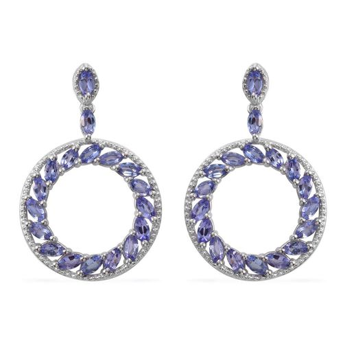 Tanzanite (Mrq) Earrings (with Push Back) in Platinum Overlay Sterling Silver 2.500 Ct.