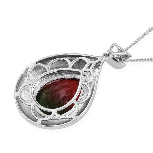 Bi-Color Tourmaline Quartz (Pear) Solitaire Pendant With Chain in Platinum Overlay Sterling Silver 8.500 Ct.