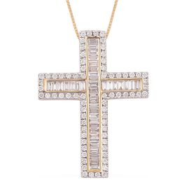 ILIANA 18K Y Gold IGI Certified Diamond (Bgt) (SI/G-H) Cross Pendant With Chain 1.000 Ct.