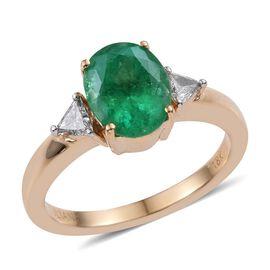 ILIANA 18K Y Gold Boyaca Colombian Emerald (Ovl 2.00 Ct), Diamond Ring 2.250 Ct.