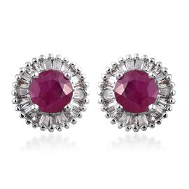 ILIANA 18K White Gold AAAA Pigeon Blood Burmese Ruby (Rnd), Diamond (SI G-H) Stud Earrings (with Screw Back) 1.350 Ct.