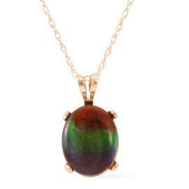 Tuscon Collection 14K Y Gold Rare AAA Canadian Ammolite (Ovl) Pendant with Chain 2.000 Ct.