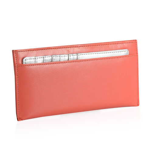 Genuine Leather RFID Blocker Peach Echo Colour Wallet  (Size 20x8 Cm) with Card Holder