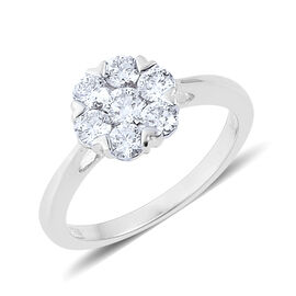 RHAPSODY 950 Platinum IGI Certified Diamond (Rnd) (VVS /E-F) 7 Stone Floral Ring 1.000 Ct.